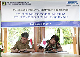 The signing ceremony between Toyobo and Trias